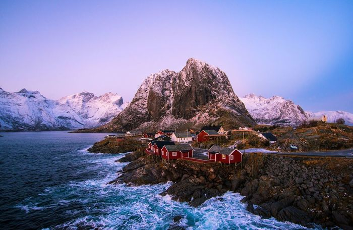 Hamnoy Winter Sunset Astronomy Beauty In Nature Clear Sky Cold Temperature Day Hamnøy Lake Landscape Mountain Mountain Range Nature No People Norway Norway🇳🇴 Outdoors Reine Scenics Sky Snow Sunset Tranquility Water Winter Been There. Shades Of Winter