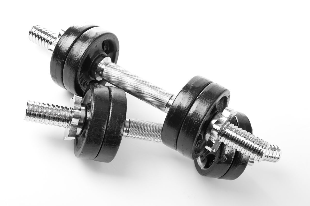 Chrome shiny hand barbells black weights on white background in horizontal orientation, nobody. Barbell Barbells Chrome Dumbbell Dumbbells Equipment Exercise Exercising Fitness Gym Heavy Heavy Metal No People Sport Strength Weight Weights White Background