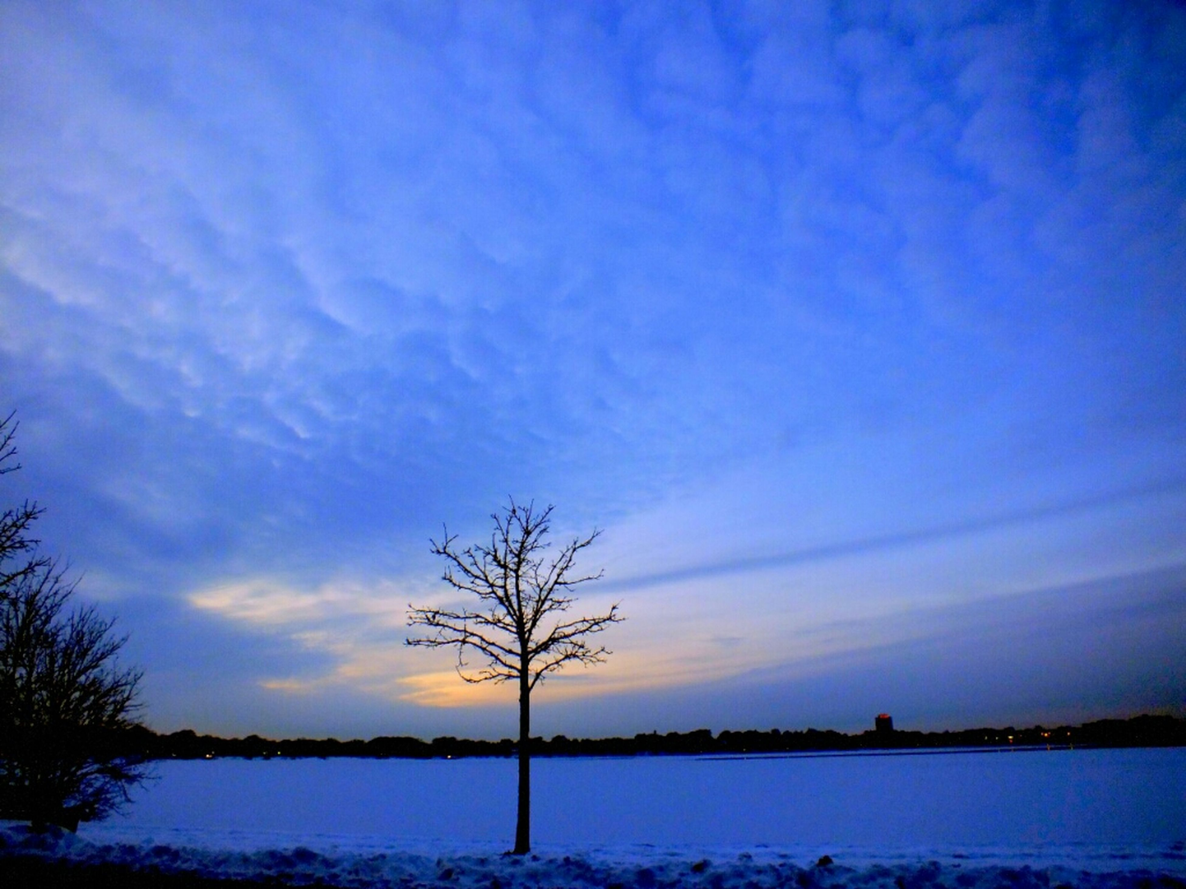 tranquil scene, tranquility, bare tree, scenics, beauty in nature, sky, tree, silhouette, water, sunset, nature, lake, branch, idyllic, cloud - sky, blue, cloud, non-urban scene, landscape, winter