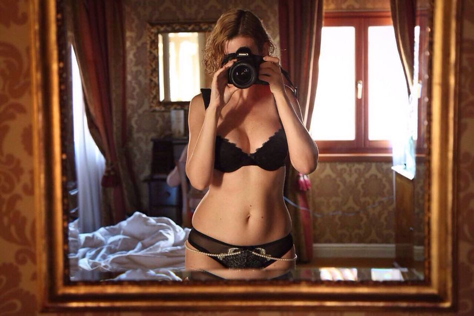 Selective Focus Self Portrait Mirror Reflection Bedroom Taking Photos Selfportrait Selfie ✌ Canonphotography Blonde Softness Curves Femininity Portrait Of A Woman Lingerie Standing Woman Enjoying The View The Amazing Human Body ThatsMe