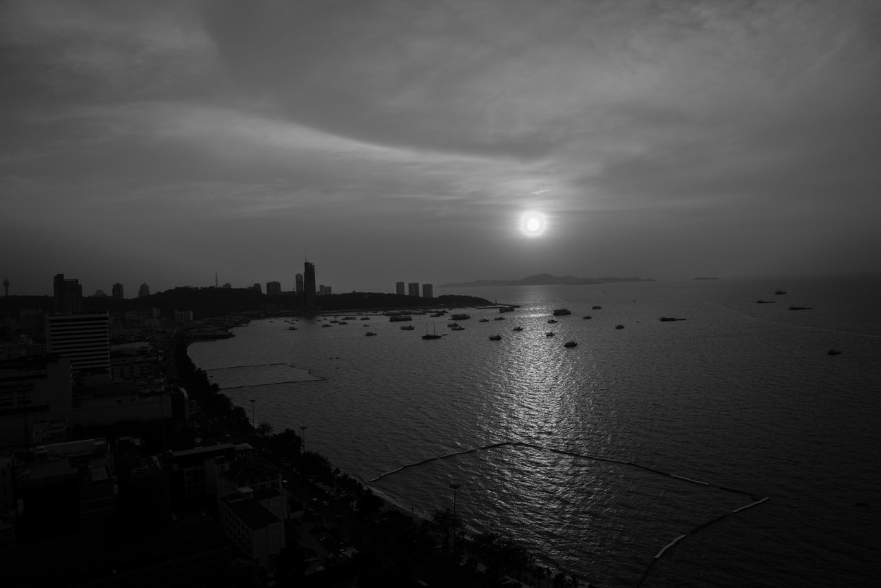 "Can i be ""The moon"" Blackandwhite City Cityscape Cloud - Sky Moon Nature Outdoors Reflection Sea Sky Sunset Travel Destinations Water"