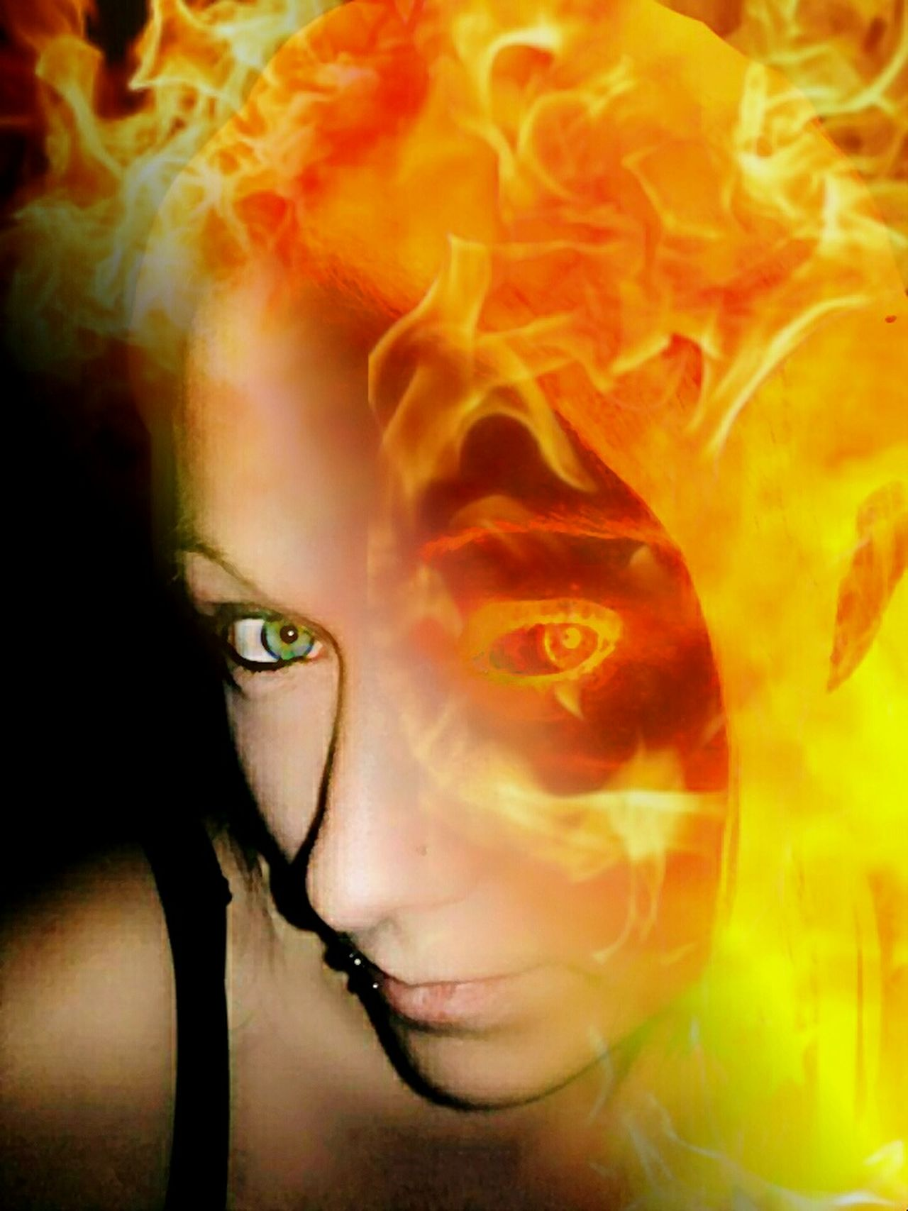 One Person One Woman Only People Close-up Creative Photography Blended Images Somethingdifferent Somethingnew Girlonfire Flames Photographyart Artistic EyeEm Best Edits EyeEm EyeEmArtists Michigan, USA Perspective Artistic Expression Photography Is My Escape From Reality!