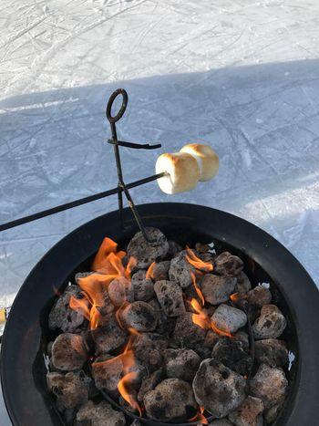 EyeEmNewHere Marshmallow Fire Flame Toasting Marshmallows Campfire Outdoors Food Roasting Man Stickman Lakeside Frozen Lake Family Fun Never Too Old  Perfection