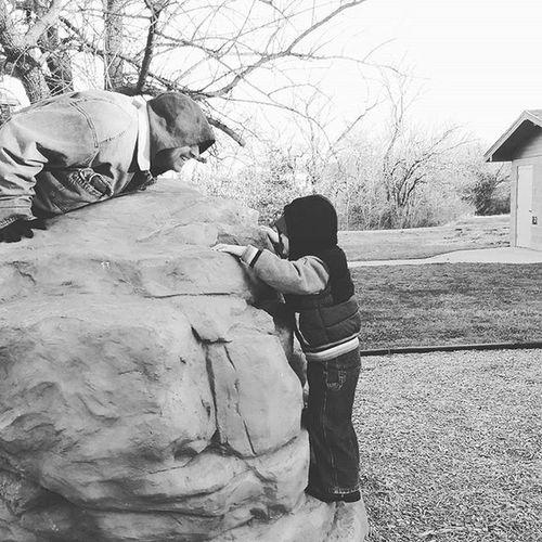 Climb with me daddy! Love Boy Boymom Park Playtime