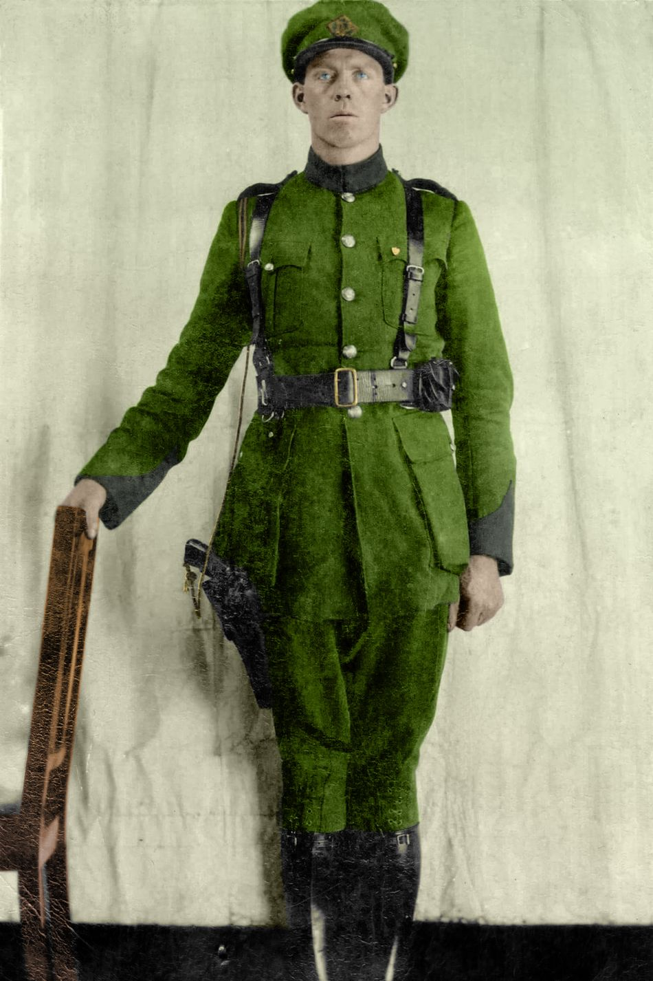Green Color One Person Front View Standing People Irish Irish Army WWII World War 2 Colorized Hand Tinted Clare