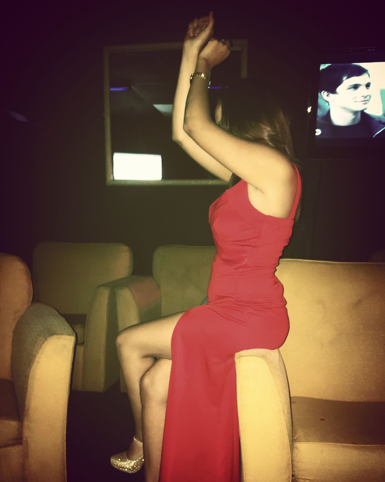 Indoors  Adults Only Club Night Music Dance Adult Music In My Blood Birthday Girl♥ Red Dress All Red Party