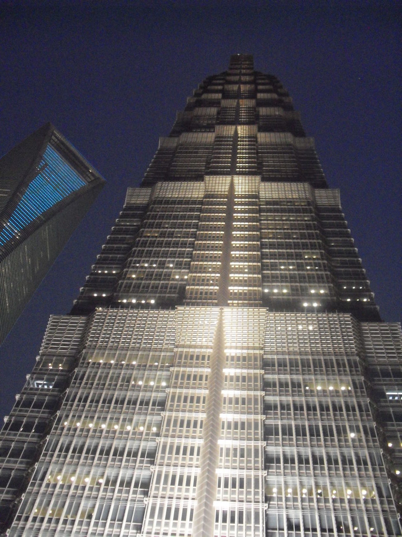 Architecture Blue China Dark Illuminated Jin Mao Tower Low Angle Shot Low Angle View Night Shanghai Shanghai World Financial Center Sky Scraper Tall High