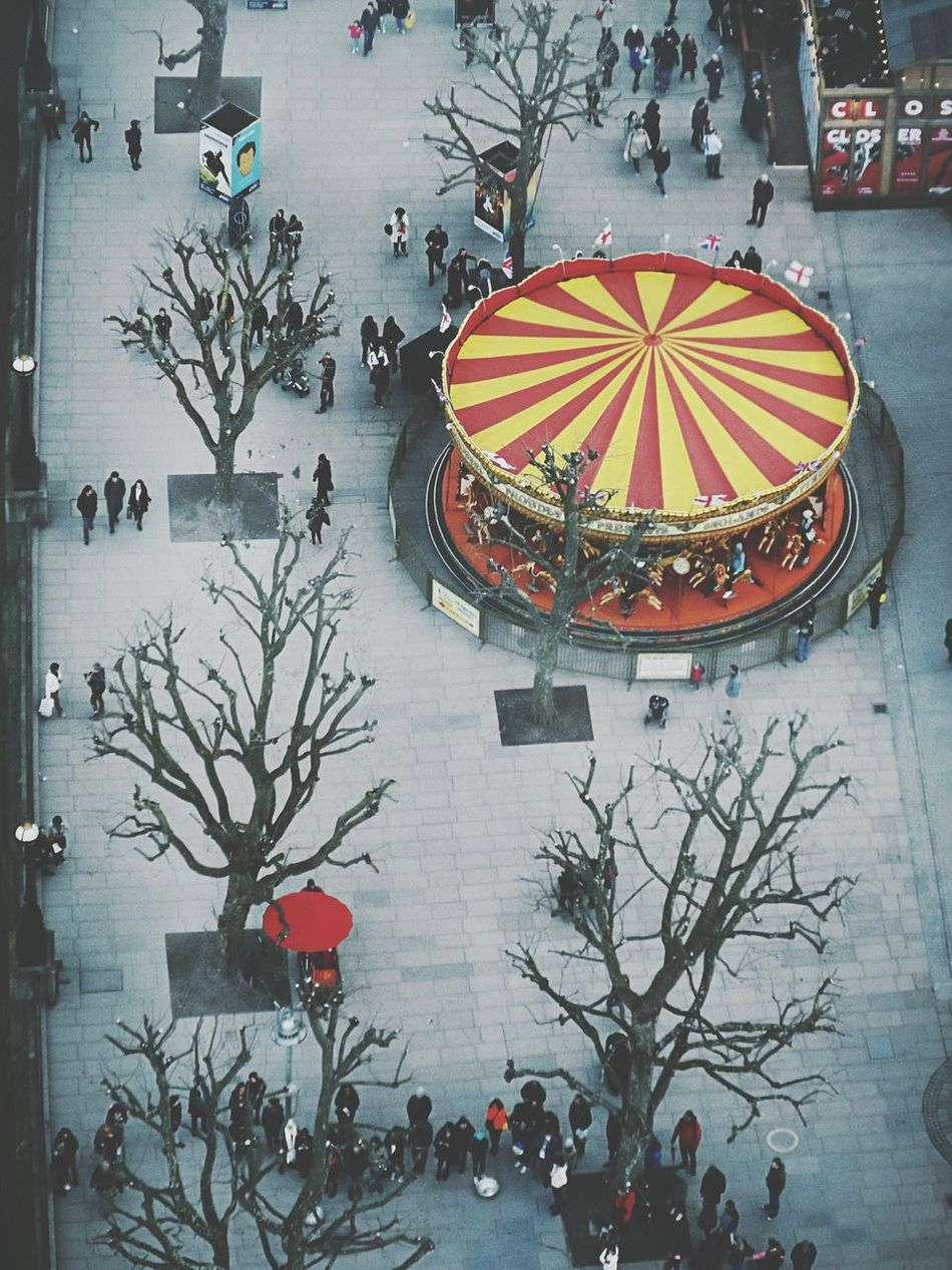 Celebration Winter Tree City Large Group Of People Cold Temperature Outdoors People Holiday - Event Carousel London Top View EyeEmNewHere Flying High Colours Red Yellow Unbrella Happiness Circle