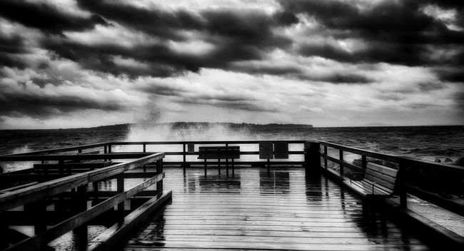 Water Sea Pier Horizon Over Water Tranquil Scene Empty Tranquility Scenics Sky Railing Storm Cloud Vacations Beauty In Nature Jetty Dramatic Sky Ocean Cloud Rippled Cloud - Sky Nature Atmospheric Mood Natural Phenomenon Beauty In Nature Architecture Majestic