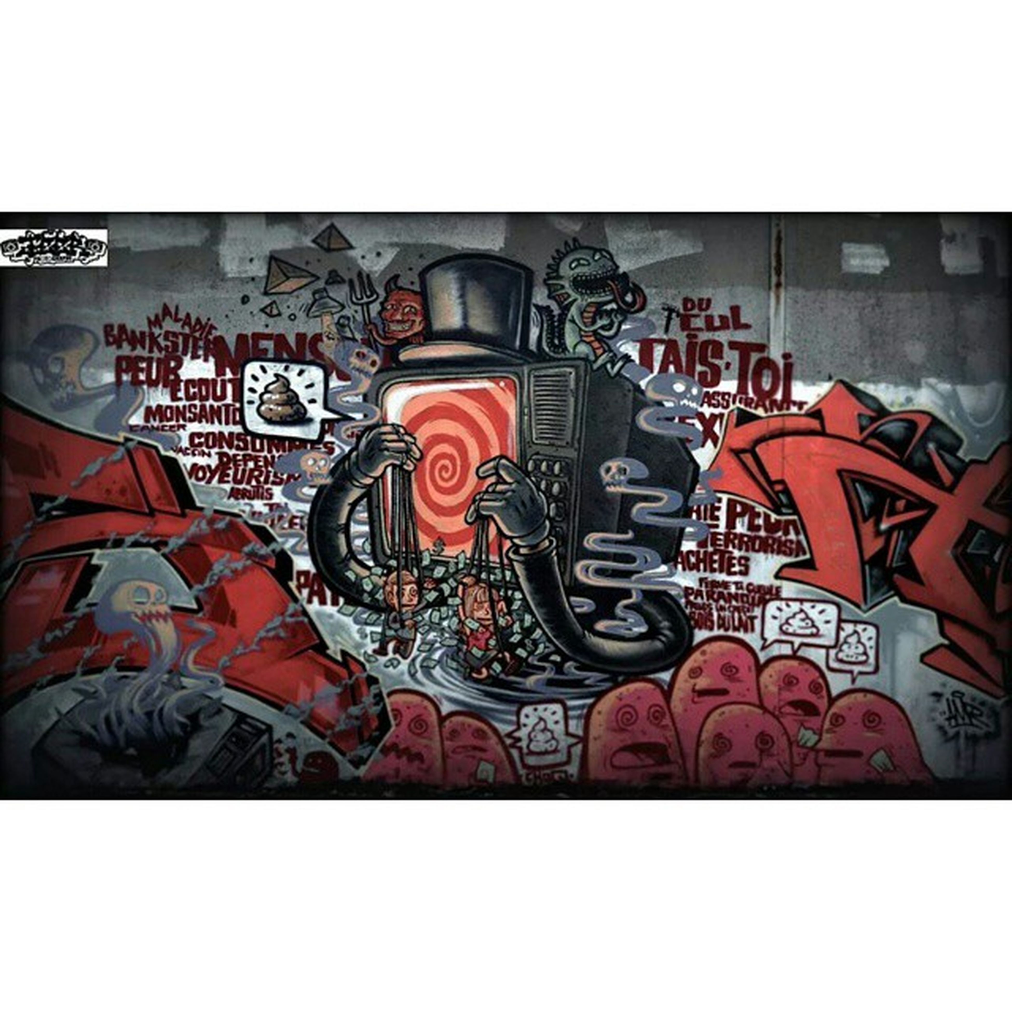 transfer print, auto post production filter, graffiti, indoors, art, creativity, art and craft, wall - building feature, human representation, lifestyles, men, shoe, standing, multi colored, built structure, leisure activity, architecture, street art