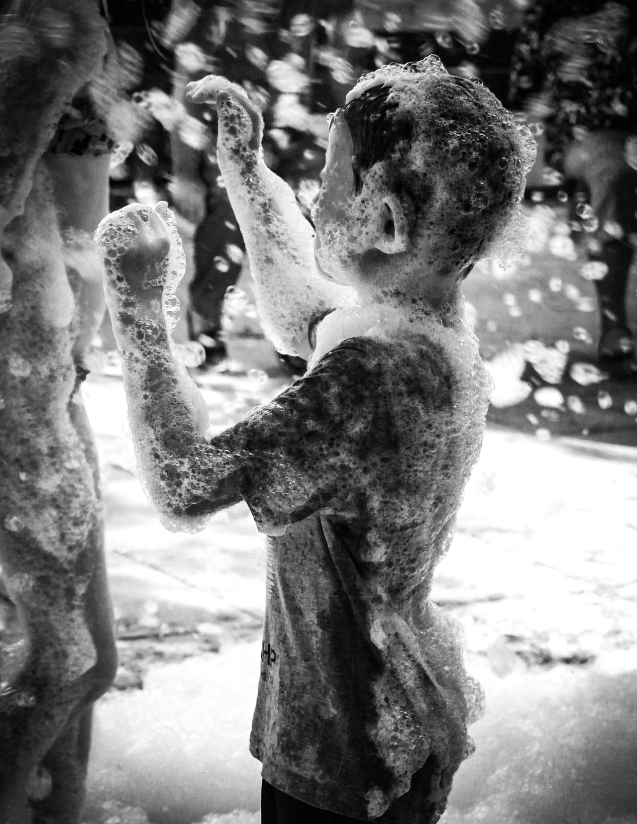 Check This Out EyeEm Gallery Enjoying Life Burgos, Spain Fiestas De Pueblo Covarrubias Black And White Bnw_collection People And Places Foam Foam Party Foamparty Childhood Children Person Enjoying Splashing Spraying Fun Dirty Standing Leisure Activity Monochrome Photography Lifestyles Fiesta De La Espuma