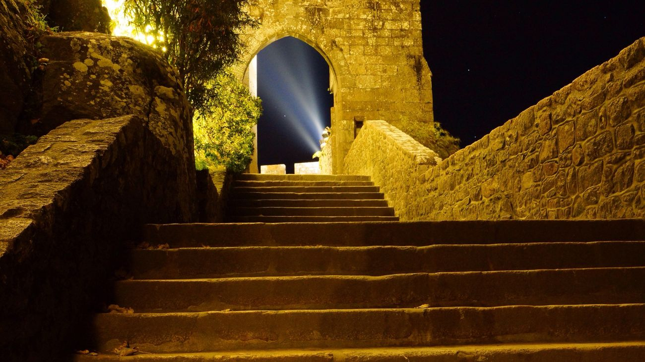 Abbey Stairway Night Shot Saint Michael's Mount France Normandy Light And Shadows Lines And Lights