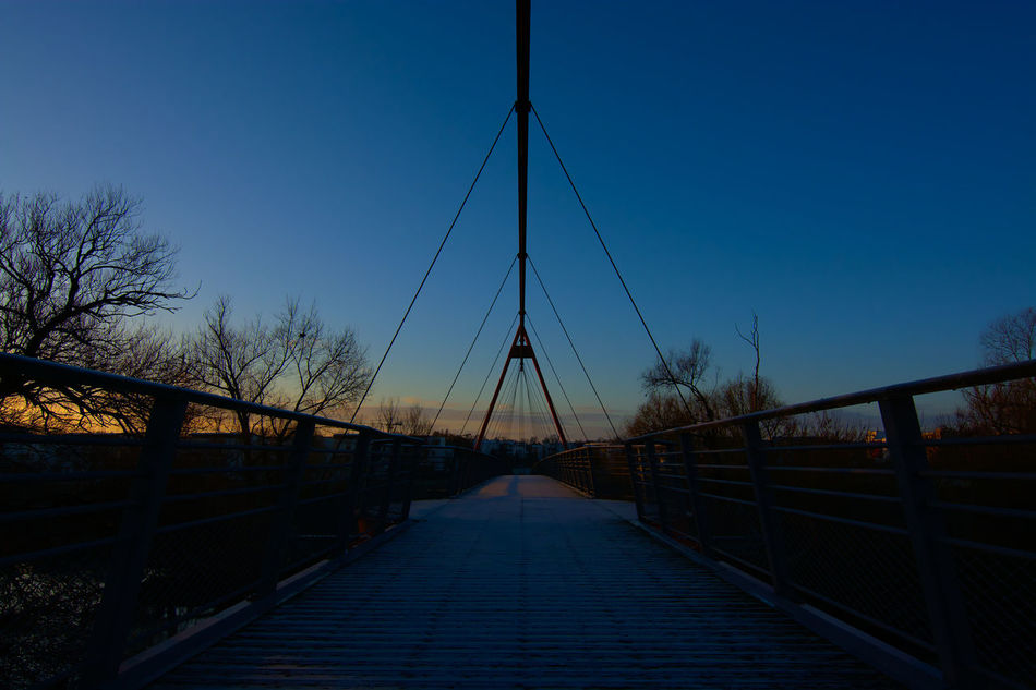 Bridge Cable Composition Outdoors Perspective Sunrise Suspension Bridge Wide-angle Lens
