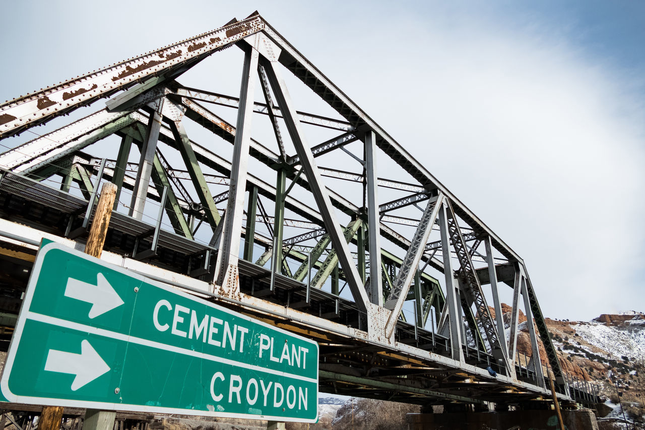 Architecture Arrows Bridge Clouds And Sky Let's Go. Together. Metal Old Old-fashioned Railroad Rusty Sign Truss Bridge Utah Winter