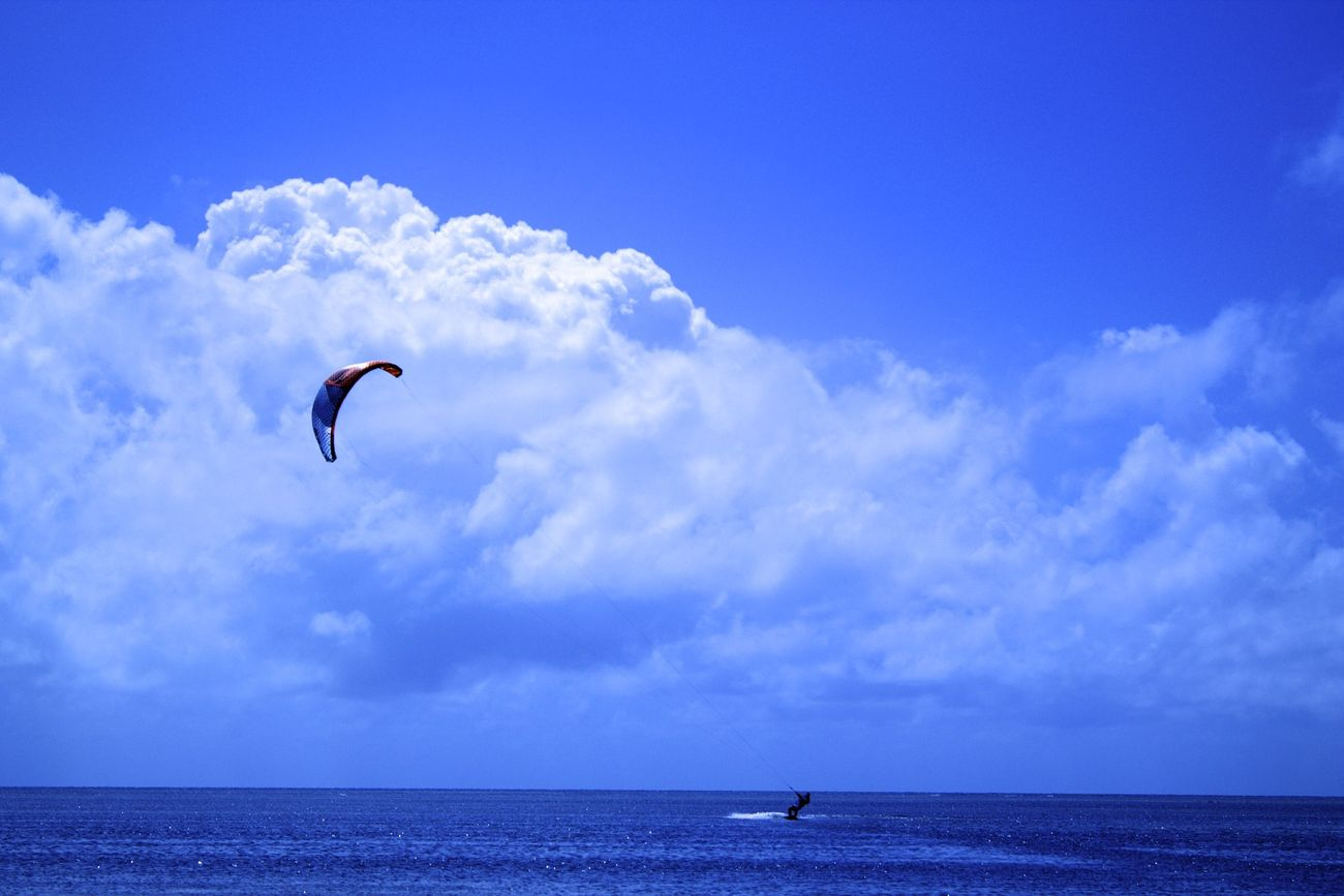 Sea Cloud - Sky Unrecognizable Person Sky Nature Flying Beauty In Nature Water Extreme Sports Scenics Outdoors Leisure Activity Adventure Kiteboarding Sport Windsurfing Paragliding Day Tranquil Scene Vacations Australian Landscape Ozzy East Coast Easy Life Photooftheday