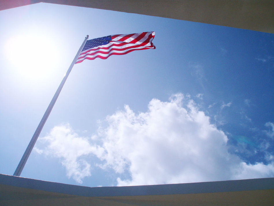 flag at Pearl Harbor Memorial American Flag Cultures Day Flag Low Angle View Military National Icon No People Outdoors Patriotism Pearl Harbor Pearl Harbor Memorial Pride Sky Stars And Stripes Uss Arizona Uss Arizona Memorial Waving