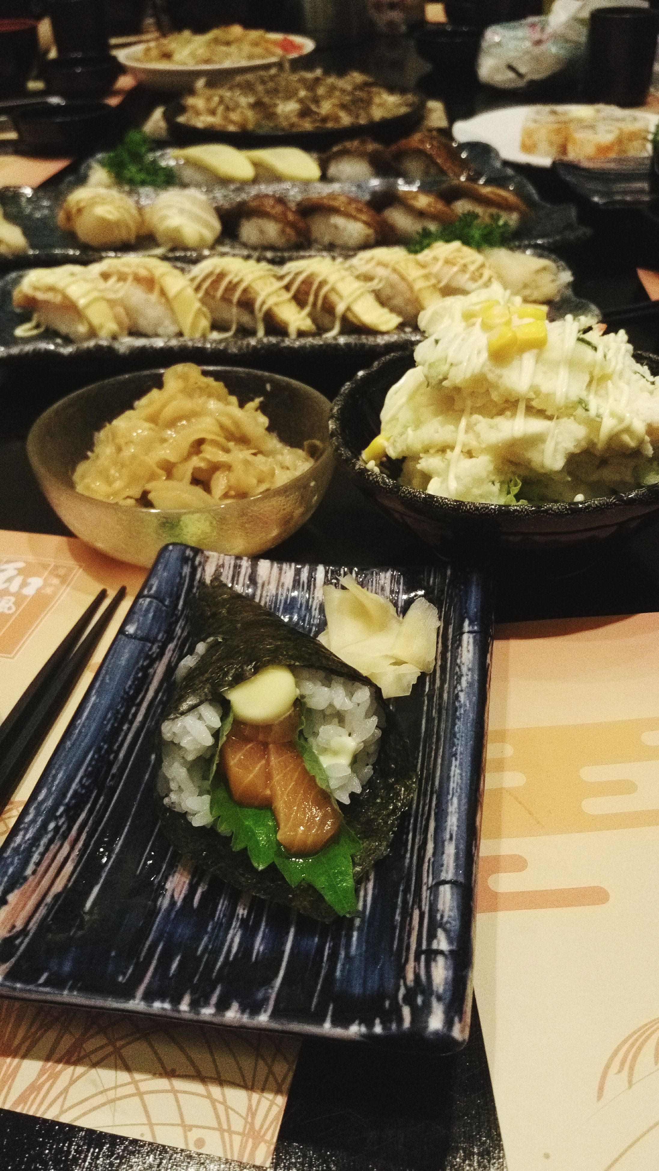 food and drink, food, freshness, indoors, ready-to-eat, still life, healthy eating, meal, meat, indulgence, table, high angle view, serving size, close-up, plate, seafood, temptation, japanese food, appetizer