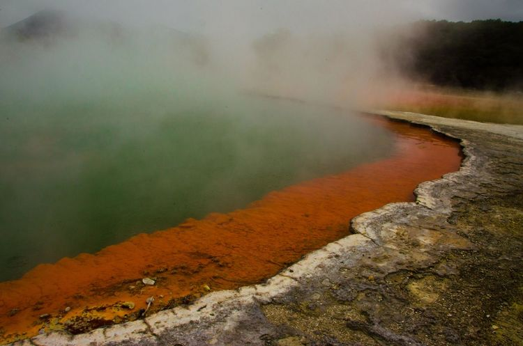 Red Highway Nature Natural Wonders Incredible New Zealand Wai O Tapu Geothermal  Fog Water Lake Nature No People Day Outdoors Hot Spring Beauty In Nature