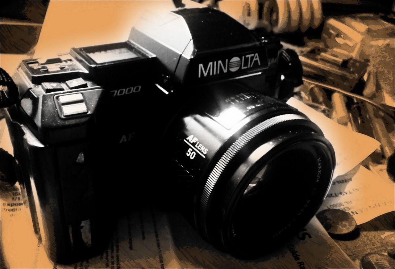 My ol film camera. 50mm. 35mmphotography 35mm Camera Film Is Not Dead Filmcamera Photography Themes Minolta 7000 Minolta Maxxum First Auto Focus Camera
