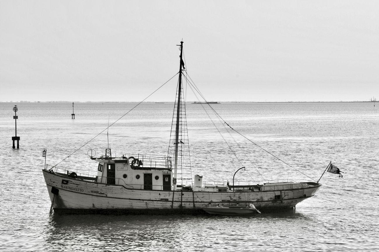 Sea Water Old Boat Boat Horizon Over Water Outdoors B&w Photography Poveglia Laguna Sealife Venezia EyeEm Selects
