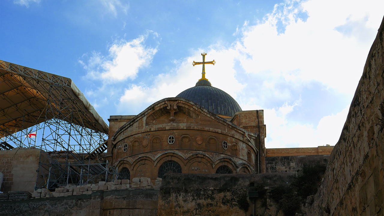 Architecture Building Exterior Built Structure Cloud - Sky Day Dome History Holy Land Holy Sephulchre Holy Sepulchre Jerusalem Jerusalem Israel Low Angle View No People Outdoors Place Of Worship Religion Sepulcher Sepulchre Sky Spirituality Travel Destinations