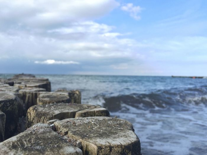 Sea Water Sky Nature Horizon Over Water Rock - Object Beauty In Nature Scenics Tranquil Scene Cloud - Sky No People Outdoors Tranquility Day Groyne Wave