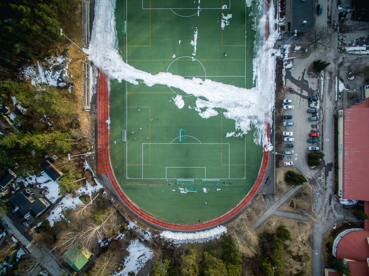 Aerial View City City Life Day Drone  Finland Fly Flying High Football Football Pic Helsinki High Angle View No People Outdoors Pitch Snow Sport Spring Winter Flying High Flying High