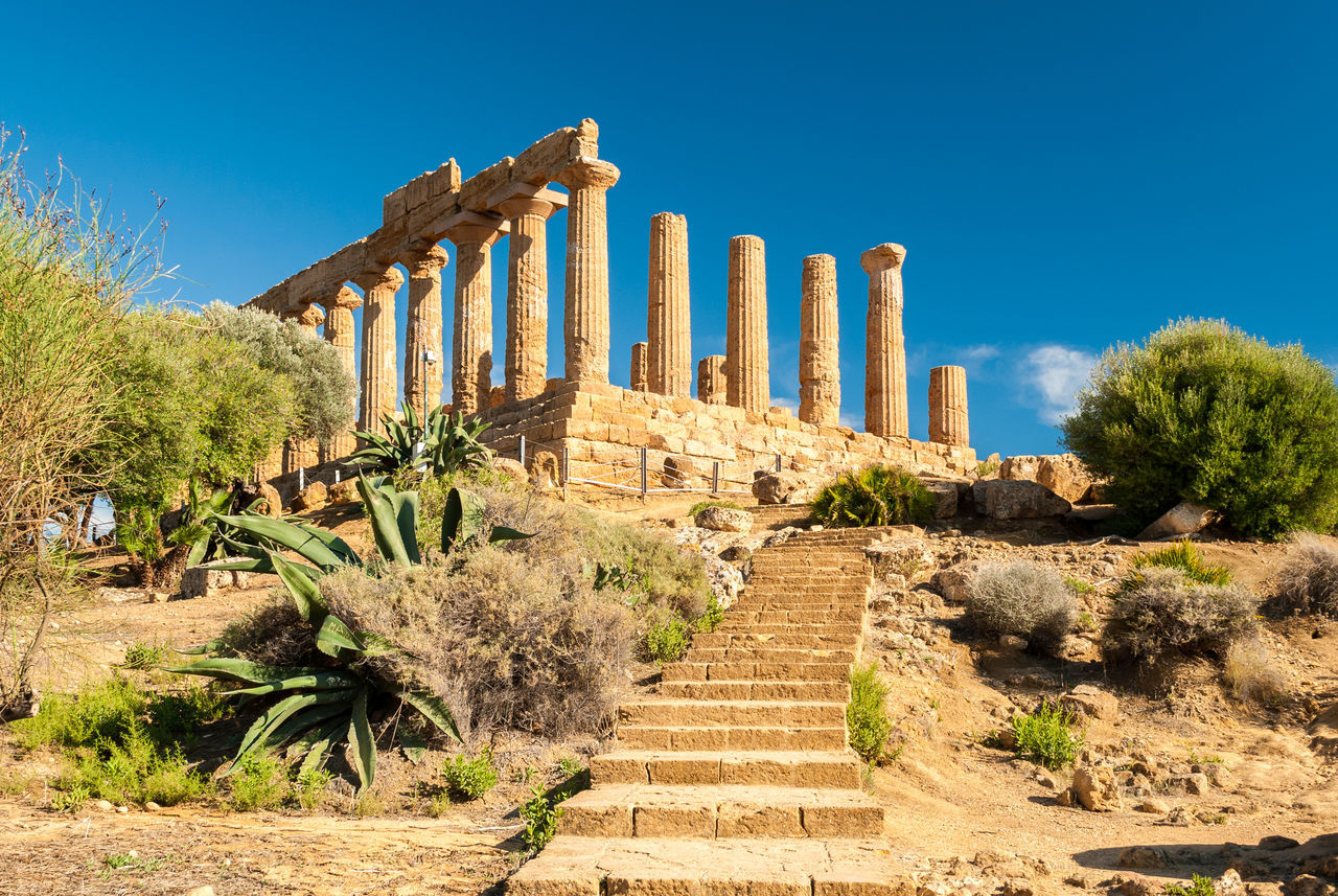 The temple of Juno, in the Valley of the Temples of Agrigento Agrigento Architecture Blue Sky Columns Greek Hera Lacinia Heritage Historic History Italy Juno Landmark Mediterranean  Monuments Ruins Sicily Sky Staircase Temple Tourism Touristic Unesco UNESCO World Heritage Site Valle Dei Templi Valley Of The Temples