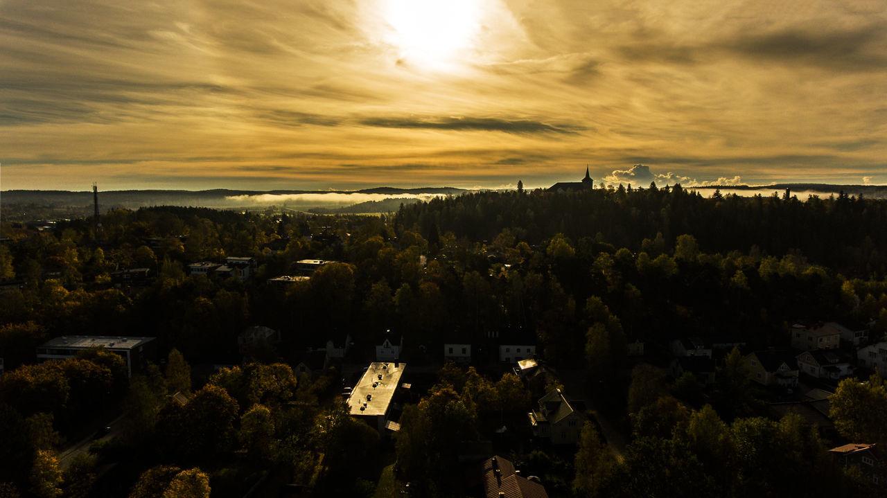 Church City Cityscape Cloud - Sky Fog Silhouette Sky Sun Sunrise Sunset