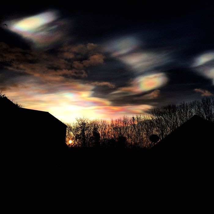 Pretty clouds from earlier this year! Clouds Nacreous Clouds Rainbowcloud Sunset Sky Nature Mothernature Pretty Nacreous Rainbowclouds Silhouette
