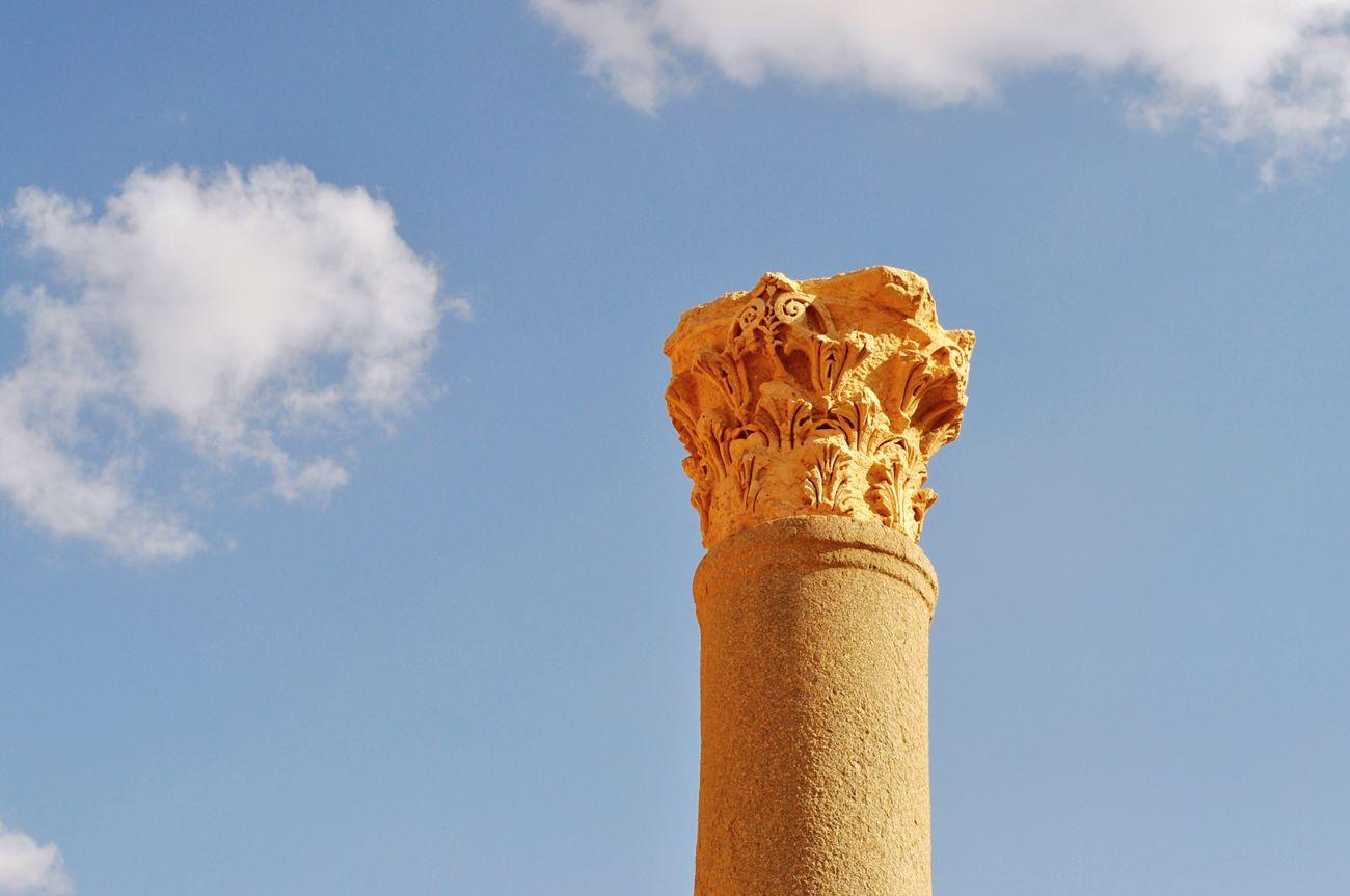 Palmyra Syria  Column Capitals Columns Sky
