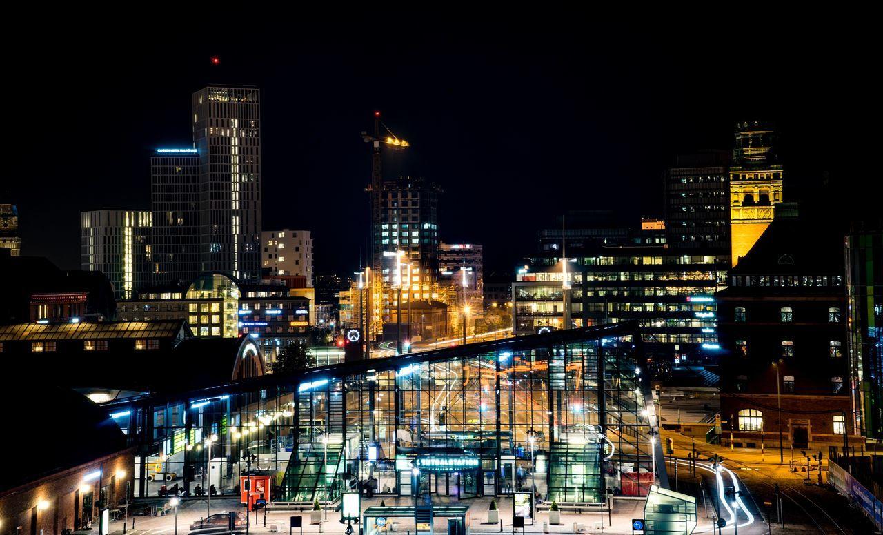 City By Night Cityscape Building Exterior Dark Malmö Nightphotography