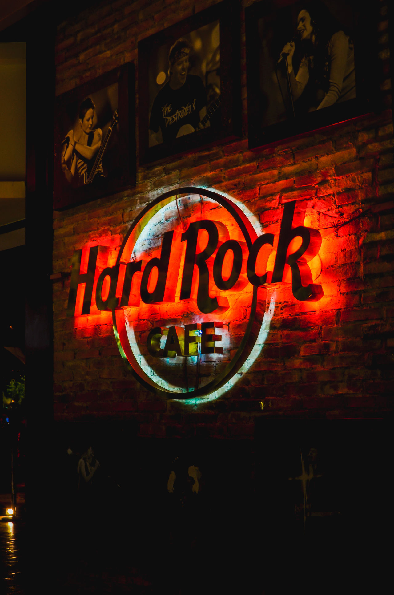 Light sign of hard rock cafe in caracas - Caracas, Venezuela Brand Bricks Built Structure Cafe Caracas City Close-up Famous Famous Place Franchise Hard Rock Hard Rock Cafe Illuminated Indoors  Label Lights Neon Night Open Sign Restaurant Rock Sing Singers Text Wall