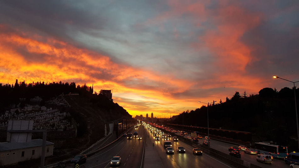 Travelling Traveladdicted Traveladdict Voyage Turkey Istanbul  Mobility In Mega Cities Sunset Road Cloud - Sky Car Outdoors No People Tree City Sky Day Colour Your Horizn