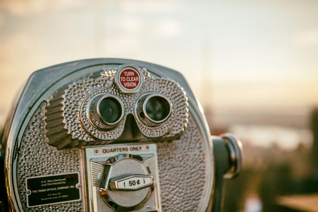 Viewpoint Binoculars City Coin-operated Binoculars Focus On Foreground Manhattan New York NYC View Viewpoint