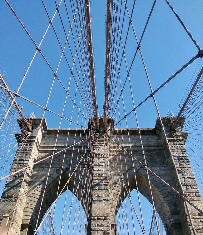 Low Angle View Built Structure Sky Architecture Metal No People Day Connection Outdoors Clear Sky Bridge - Man Made Structure Close-up Brooklyn Brooklyn Bridge / New York Brooklyn Bridge  Brooklyn Nyc Brooklynnyc Brooklyn Ny