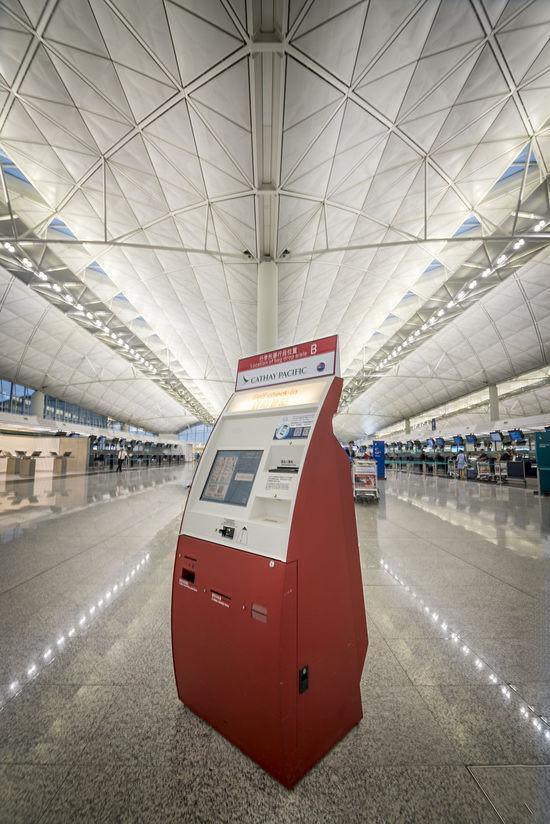 A ticketing kiosk in Hong Kong International Airport Air Traffic  Air Travel  Cathay Pacific Hong Kong Hong Kong International Airport Kiosk Ticketing