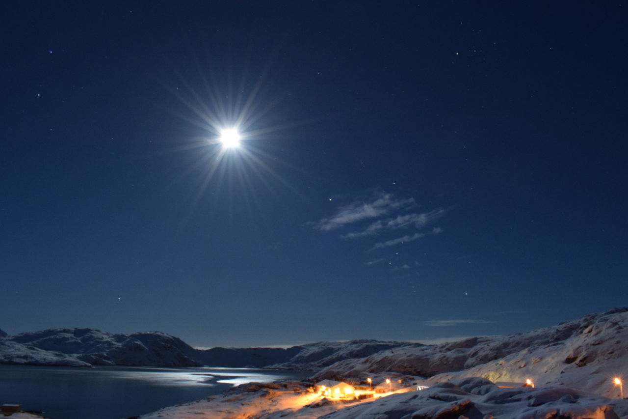 moon shine in Tasiilaq Beautiful Beautiful Nature Beauty In Nature Cold Cold Winter ❄⛄ December Greenland Landscape Mountains Night Nightphotography Small Town Snow Covered Snow ❄ Snowcapped Mountain Tasiilaq Winter