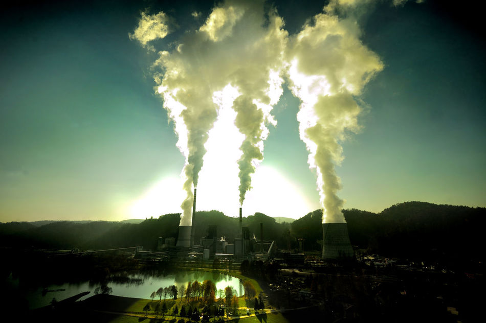Air Pollution Aoutmn Green Lake View Landscape Outdoors Power Plant Sky Smoke - Physical Structure Steem Sun Tree