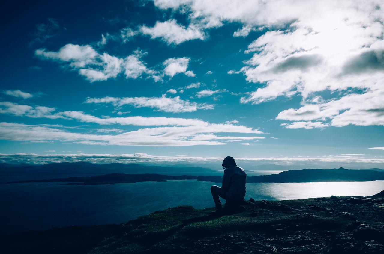 Sitting on the edge... One Person Cloud - Sky Sea Sky People Outdoors Nature Beauty In Nature Travel Photography IsleOfSkye Isle Of Skye Scotlandsbeauty Scottish Landscape Pentax Blue Water Coastline Travel Destinations Landscape Klaquax_Scotland