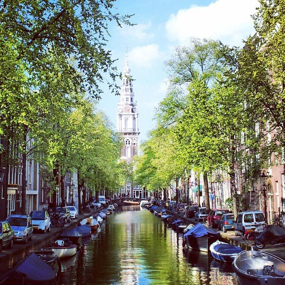 Amsterdam Netherlands Instamood Insta_netherlands Blueskies Tree Boats Canal Your Amsterdam