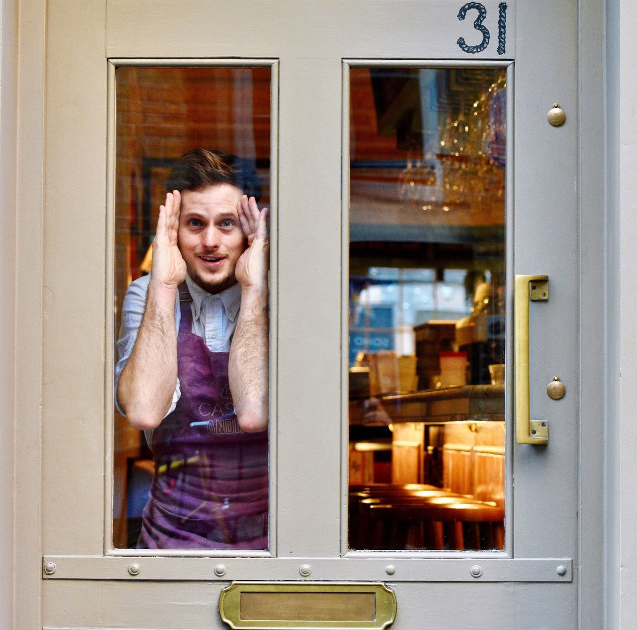 Looking through the window Looking At Camera Portrait Open Smiling Adults Only One Person Retail  Doorway Standing Mature Adult People Adult Indoors  One Man Only Day London Lifestyle Always Be Cozy My Year My View LONDON❤ Something Different Funny Faces Candid Portraits Candidshot Candid Sneak Shot Street Photography
