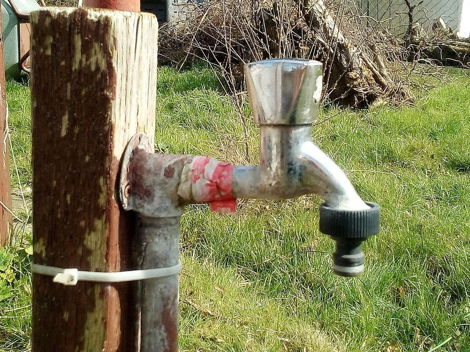 Day Grass Outdoors Water Low Section Nature Water Tap No People Old And Rusty