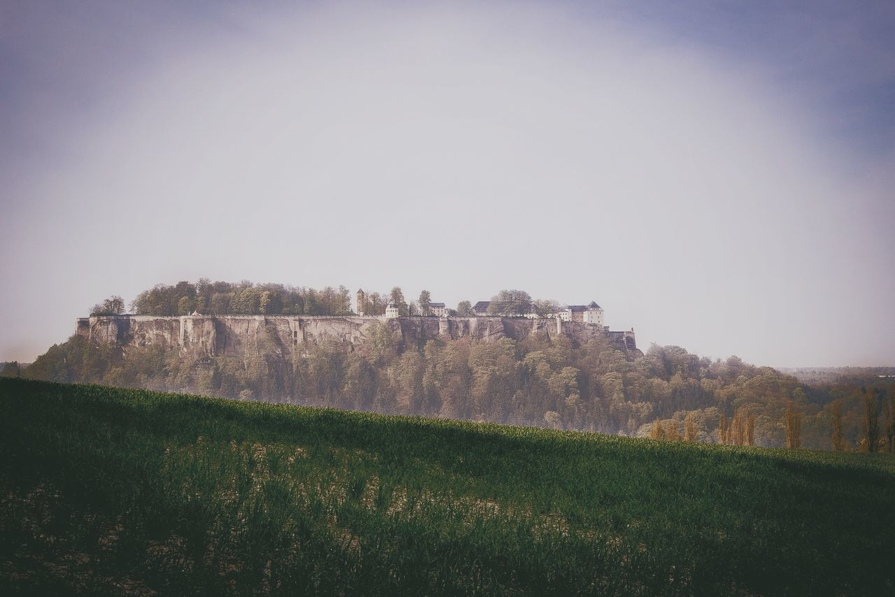 Mid Distance View Of Konigstein Fortress Against Sky
