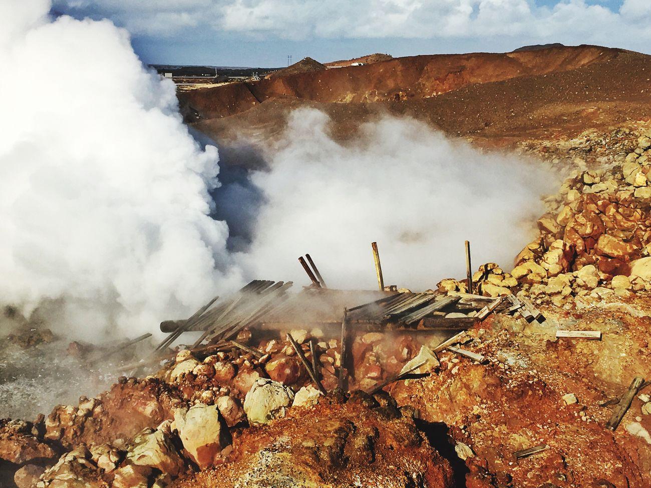 Steam Hot Bridge Wooden Destroyed Blue Sky Iceland116 Iceland_collection