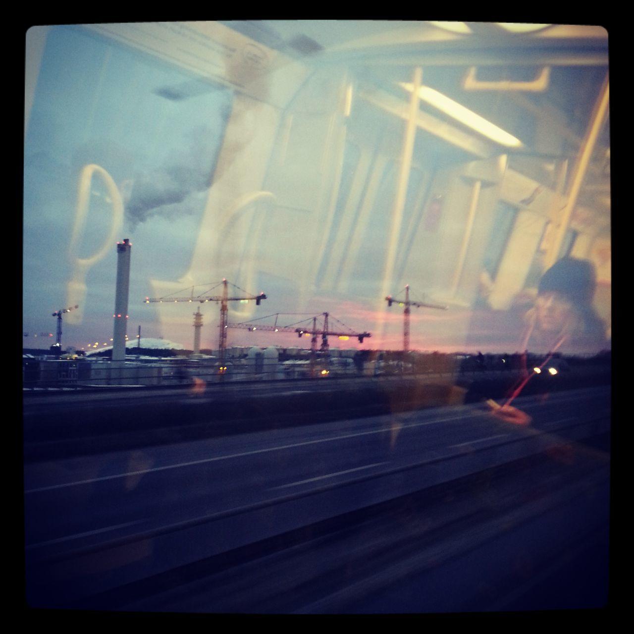 transportation, illuminated, no people, sky, road, night, outdoors, runway