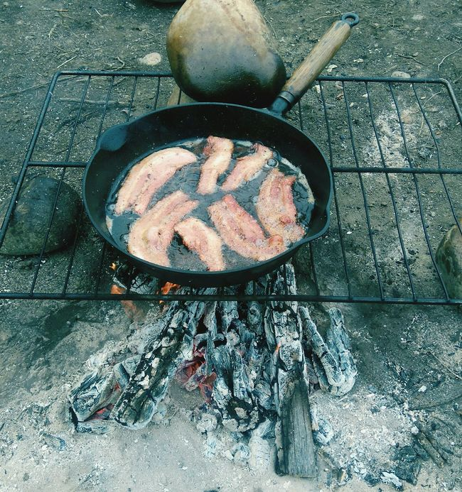 Mmmm, Bacon lol Preparing Food Bacon! Enjoying Life Check This Out Taking Photos Lifestyles Backcountry The Great Outdoors Adventure Time Campfire Cooking Camping Life Beauty In Nature Carefree Relaxing