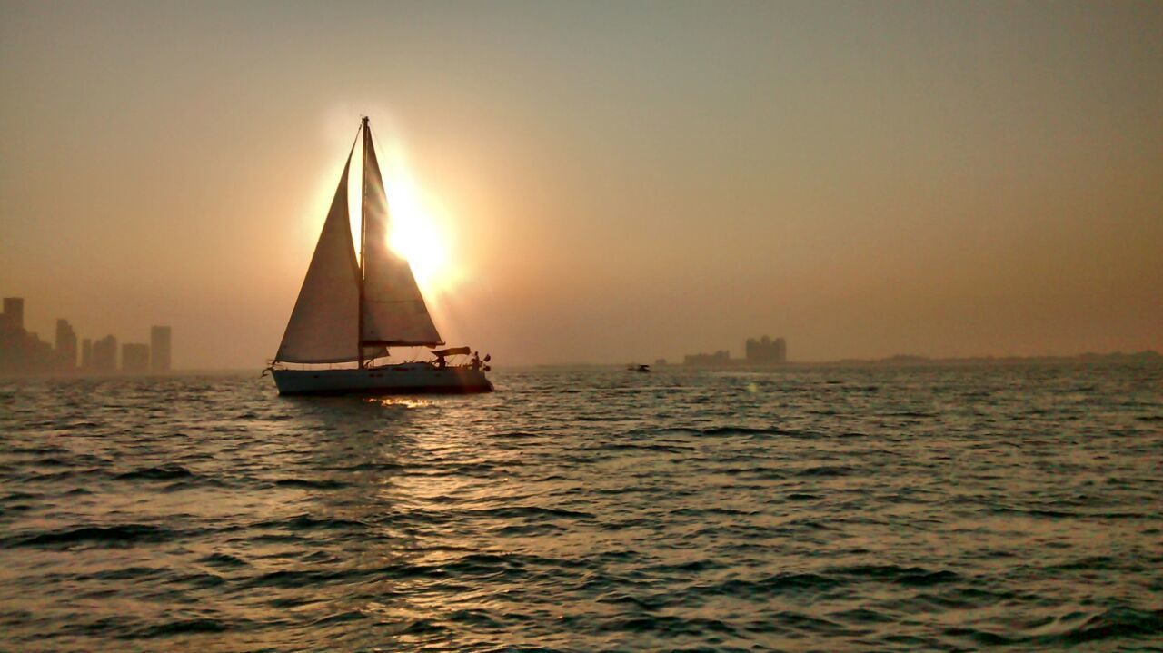 Sea Sunset Sailboat Nautical Vessel Sailing Beauty Water Fog Landscape Sailing Ship Sky Outdoors Horizon Over Water No People Nature Yacht Regatta Yachting Day