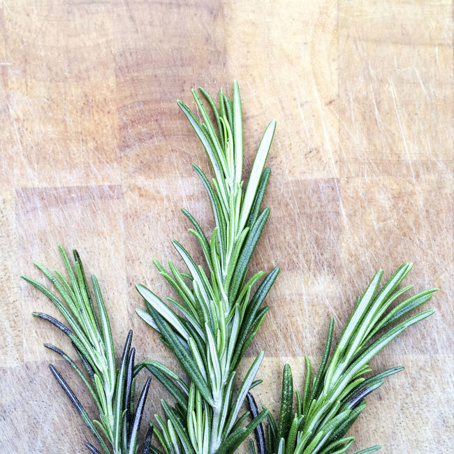 Sprigs of Rosemary on wooden chopping board Background Chopping Board Close Up Close-up Detail Flavouring Green Green Color Herb Herbs Ingredient Leaf Plant Rosemary Sprig Sprigs Surface Wood Wooden