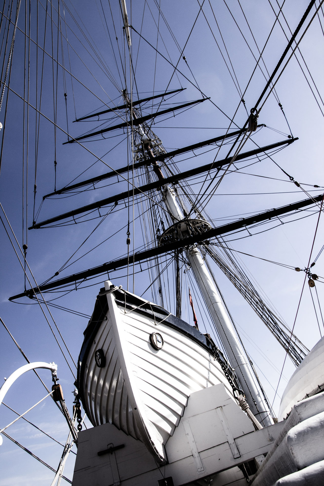 On the Cutty Sark Abstract Architecture Boat Low Angle View Marine Mast Old Boat Rigging Ship Sky Tall Ship Wooden Boat